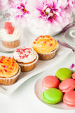 Dessert and flowers Royalty Free Stock Image