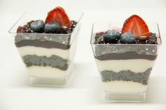 Dessert food blueberry panacota in glass. A Dessert food blueberry panacota in glass stock image
