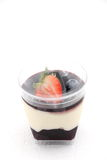 Dessert food blueberry  panacota and wild berry trifle. Stock Photo
