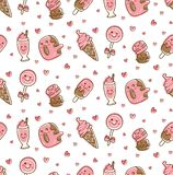 Dessert food and drink seamless pattern in kawaii doodle style vector illustration. Can be use as background, fabric printing etc vector illustration