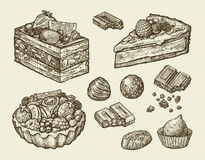 Dessert, food. hand drawn cake, pastry, chocolate, pie, candy, sweet. sketch vector illustration Royalty Free Stock Photography