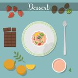 Dessert food sweet cake with raspberry sauce ingredient homemade healthy cuisine plate vector illustration. Stock Photo