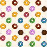 Dessert food vector seamless pattern with colorful donuts  Royalty Free Stock Image
