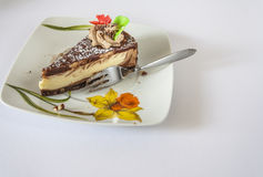 Dessert And Fork On A Saucer. On White Stock Photography