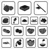 Dessert fragrant black icons in set collection for design. Food and sweetness vector symbol stock web illustration. Dessert fragrant black icons in set Stock Image