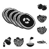 Dessert fragrant black icons in set collection for design. Food and sweetness vector symbol stock web illustration. Dessert fragrant black icons in set Royalty Free Stock Image