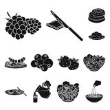 Dessert fragrant black icons in set collection for design. Food and sweetness vector symbol stock web illustration. Dessert fragrant black icons in set Royalty Free Stock Photography