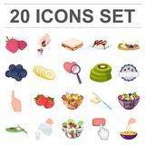 Dessert fragrant cartoon icons in set collection for design. Food and sweetness vector symbol stock web illustration. Dessert fragrant cartoon icons in set Royalty Free Stock Image