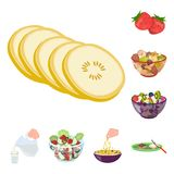 Dessert fragrant cartoon icons in set collection for design. Food and sweetness vector symbol stock web illustration. Dessert fragrant cartoon icons in set Stock Photos