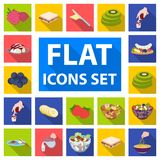 Dessert fragrant flat icons in set collection for design. Food and sweetness vector symbol stock web illustration. Dessert fragrant flat icons in set collection Royalty Free Stock Photo
