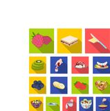Dessert fragrant flat icons in set collection for design. Food and sweetness vector symbol stock web illustration. Dessert fragrant flat icons in set collection Royalty Free Stock Images