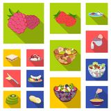Dessert fragrant flat icons in set collection for design. Food and sweetness vector symbol stock web illustration. Dessert fragrant flat icons in set collection Royalty Free Stock Photography