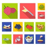 Dessert fragrant flat icons in set collection for design. Food and sweetness vector symbol stock web illustration. Dessert fragrant flat icons in set collection Royalty Free Stock Photos