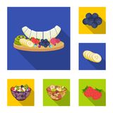 Dessert fragrant flat icons in set collection for design. Food and sweetness vector symbol stock web illustration. Dessert fragrant flat icons in set collection Stock Photo