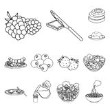 Dessert fragrant outline icons in set collection for design. Food and sweetness vector symbol stock web illustration. Dessert fragrant outline icons in set Stock Photography