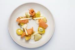 Dessert - Franse heerlijke keuken Gerookte zalm Stock Foto