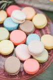 Dessert French Macarons. Tasty and fresh french macarons or macaroons  for coffee or tea Royalty Free Stock Photos