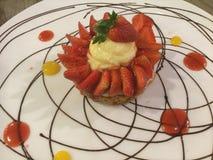 Dessert fresco della fragola Flan della vaniglia Vista superiore Fotografia Stock