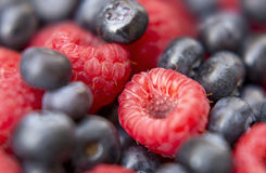 Dessert, fresh berries close-up. The texture of berries, raspberries and blue-berries, macro shot Royalty Free Stock Photography