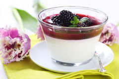 Dessert with fresh berries and cream Stock Image