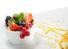 Dessert - Fresh Berries with Ice Cream Stock Photography