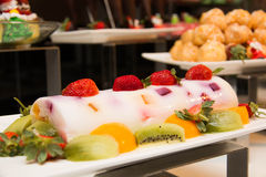 Dessert with fresh fruit on buffet line, sweet Royalty Free Stock Photography