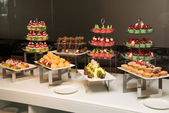 Dessert with fresh fruit on buffet line, sweet Royalty Free Stock Image