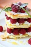 Dessert with fresh raspberries and cream Stock Photography