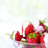 Dessert with fresh strawberries. Tasty dessert with fresh strawberries Royalty Free Stock Photos