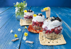 Dessert with fresh strawberries and currants, wholesome food. Royalty Free Stock Photos