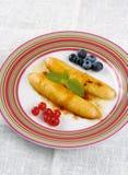 Dessert fritto della banana Fotografie Stock Libere da Diritti
