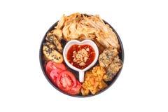 Dessert fritto nel grasso bollente di mais, del taro, di Gao nian e della banana fotografie stock libere da diritti