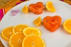 Dessert fruité de valentines Photographie stock
