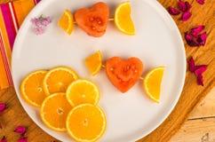 Dessert fruité de valentines Photo libre de droits