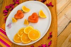 Dessert fruité de valentines Photos stock