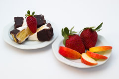 Dessert and fruit Royalty Free Stock Photography