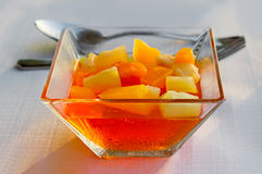 Dessert: fruit pieces in a sugar syrup. Royalty Free Stock Image