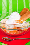 Dessert with fruit and whipped cream Royalty Free Stock Photos