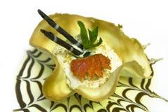 Dessert with fruits. Cream caramel dessert with fruits Stock Photo