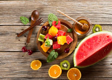 Dessert of fruits and berries, shot from above Royalty Free Stock Photography