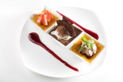 Dessert gastronomico alla moda fotografia stock libera da diritti