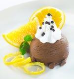 Dessert gastronomico del gelato del cioccolato Fotografia Stock Libera da Diritti
