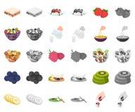 Dessert geurig beeldverhaal, monochrom pictogrammen in vastgestelde inzameling voor ontwerp Voedsel en de voorraadweb van het zoe royalty-vrije illustratie