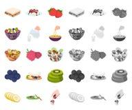 Dessert geurig beeldverhaal, monopictogrammen in vastgestelde inzameling voor ontwerp Voedsel en de voorraadweb van het zoetheids royalty-vrije illustratie
