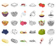 Dessert geurig beeldverhaal, overzichtspictogrammen in vastgestelde inzameling voor ontwerp Voedsel en de voorraadweb van het zoe stock illustratie
