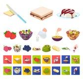 Dessert geurig beeldverhaal, vlakke pictogrammen in vastgestelde inzameling voor ontwerp Voedsel en de voorraadweb van het zoethe stock illustratie