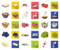 Dessert geurig beeldverhaal, vlakke pictogrammen in vastgestelde inzameling voor ontwerp Voedsel en de voorraadweb van het zoethe vector illustratie