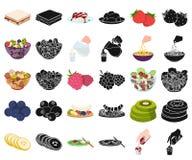 Dessert geurig beeldverhaal, zwarte pictogrammen in vastgestelde inzameling voor ontwerp Voedsel en de voorraadweb van het zoethe vector illustratie