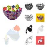 Dessert geurig beeldverhaal, zwarte, vlak, zwart-wit, overzichtspictogrammen in vastgestelde inzameling voor ontwerp Voedsel en z stock illustratie