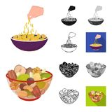 Dessert geurig beeldverhaal, zwarte, vlak, zwart-wit, overzichtspictogrammen in vastgestelde inzameling voor ontwerp Voedsel en z royalty-vrije illustratie